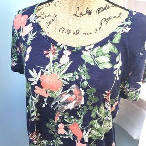 Lucky Brand Floral Bird Print T-shirt
